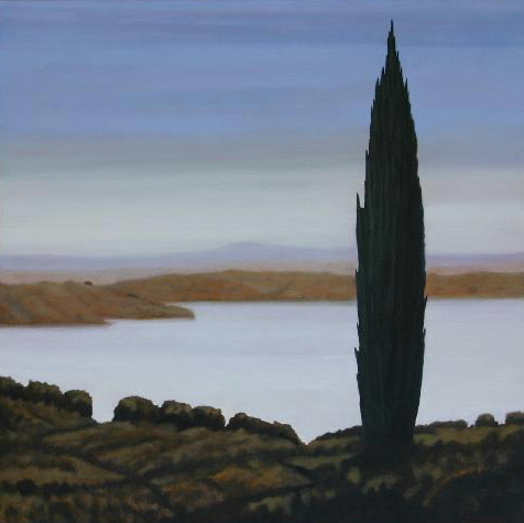 Above the river, oil on linen, 91x91cm, Luke Wagner 2004