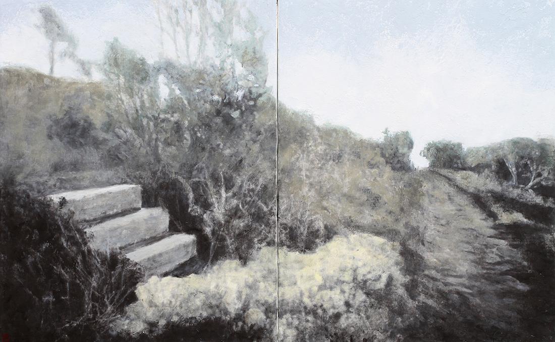 John Cook's Steps#2, Tasman Island oil on linen 77x122cm $4900
