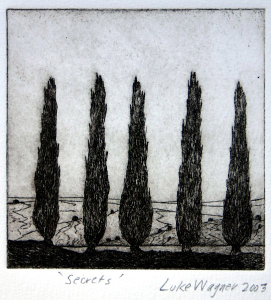 Secrets, etching, Luke Wagner